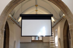 St Benedicts Church high level projector screen installation