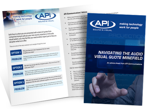 Sign up to APi Communication database and get a FREE pdf download 'Navigating the audio visual quote minefield'
